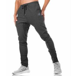 mens gym joggers sweatpants causal slim fit