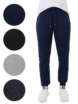 Mens Jogger Sweatpants w/ Zipper Pockets Slim-Fit Lounge Run