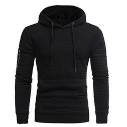 Ximandi Mens' Long Sleeve Plaid Hooded Sweatshirt Autumn Win
