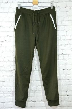Galaxy by Harvic mens olive green Large slim fit joggers swe
