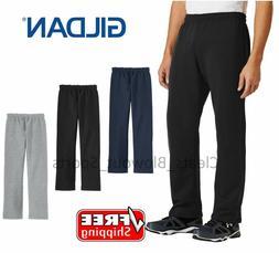 Mens Gildan Open Bottom Sweatpants Casual Retro Style Workou