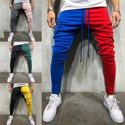 Mens Track Pants Striped Joggers Sweatpants Slim Fit Drawstr