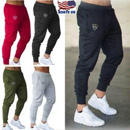 Mens Sport Pants Long Trousers Tracksuit Fitness Workout Jog