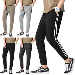Mens STRIPE JOGGERS Sweatpants Fleece Casual Lightweight Ela