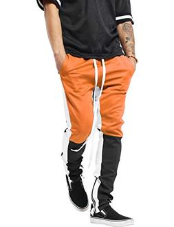 Mens Stripe Track Three Tone Pants Skinny Fit Stretch Casual