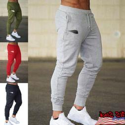 Mens Track Jogger Pants Slim Fit Sweatpants Running Sports B