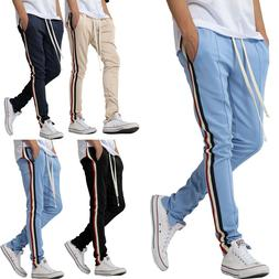 Mens Track Pants Jogger Sweatpants Ankle Zip Long Drawstring