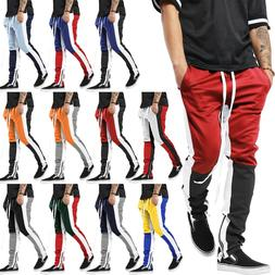 Mens Track Pants Stripe Jogger Pants Sweatpants Poly Ankle Z