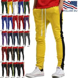 Mens Track Pants Striped Joggers Sweatpants Slim Fit Zipper
