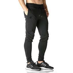 BROKIG Mens Zip Joggers Comfortable Slim Fit Sweatpants with