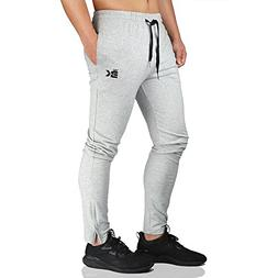 BROKIG Mens Zip Joggers Pants - Casual Gym Fitness Trousers