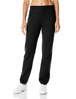 Hanes Women's Mid Rise Cinch Bottom Fleece Sweatpant, Ebony,