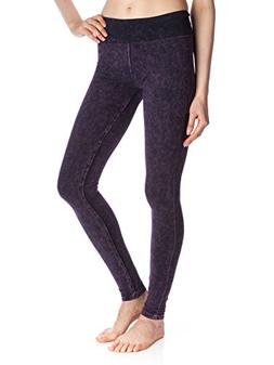 T Party Women's Mineral Washed Foldover Leggings, Purple, Sm