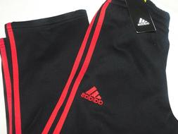 NEW BOYS SIZE SMALL 8 BLACK/RED ADIDAS 3 STRIPE FLEECE LINED
