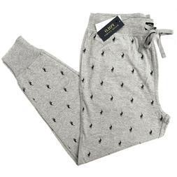 New RALPH LAUREN Grey All-Over Logo Pyjama Bottoms Sweatpant