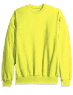 NEW Hanes Men's Ecosmart Fleece Sweatshirt SAFETY GREEN -