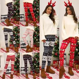 New Plus Size S-5XL 2019 Women Christmas Pants Print <font><