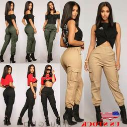 New Womens Cargo Pants High Waist Jogger Casual Trousers Poc