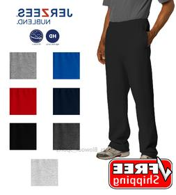 JERZEES NuBlend Open Bottom Sweatpant Pockets Gym Trainer Cr