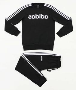 NWT ADIDAS 3-Stripes Men's Black Tapered Sweatsuit Set Sweat