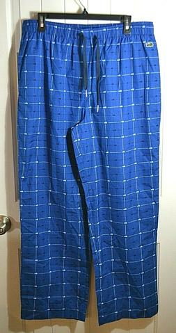 NWT MEN'S LACOSTE  BLUE CHECKERED ALLIGATOR IRIS SLEEPWEAR S