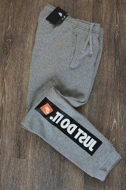 NWT NIKE Men's Fleece JDI Jogger Sweatpants GRAY BLACK L XL