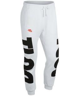 "NWT NIKE Men's Fleece ""Just Do It"" Jogger Sweatpants White B"