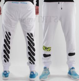 OFF-white joggers spray painted sweatpants for men women whi