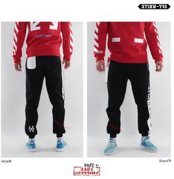 OFF-white joggers sweatpants for men women black strips logo