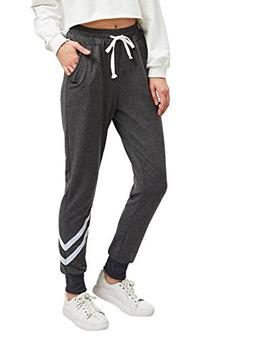 SweatyRocks Women Pants Color block Casual Tie Waist Yoga Jo