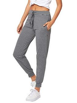 SweatyRocks Women Pants Striped Casual Tie Waist Yoga Jogger