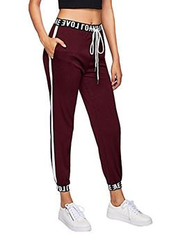 SweatyRocks Women Pants Striped Side Casual Tie Waist Yoga J