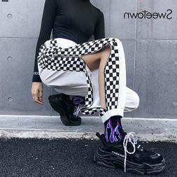Sweetown Patchwork Plaid Streetwear Pants Women Checkerboard