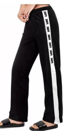 PINK by Victoria's Secret Womens Pants Black Logo Side Snap
