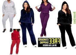 Women's Plus Size Athletic Velour Zip Up Hoodie & Sweat Pant