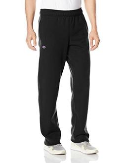Champion Men's Powerblend Sweats Open Bottom Pants Black S