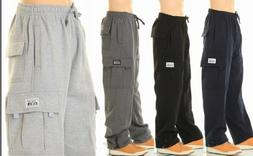 PROCLUB PRO CLUB MENS CASUAL CARGO SWEATPANTS FLEECE PANTS H