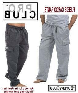 PRO CLUB PROCLUB MEN'S HEAVYWEIGHT CARGO PANTS SWEATPANTS HE