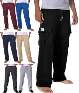 PROCLUB Mens CARGO LONG SWEATPANTS Fleece Pants Heavy Weight