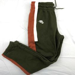 Nike Re-Issue Fleece Joggers Sweatpants Olive Green White AQ