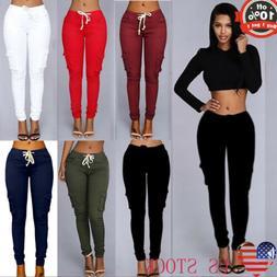 S-4XL Women Cargo Pants High Waist Jogger Skinny Long Trouse