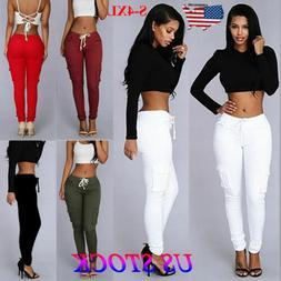 S-4XL Women Cargo Pants High Waist Jogger Skinny Trousers Po
