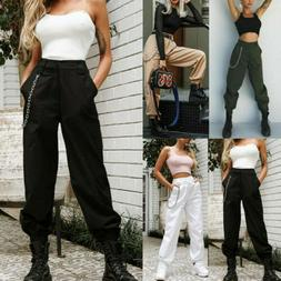 S-XXL Womens Cargo Pants High Waist Jogger Casual Trousers P