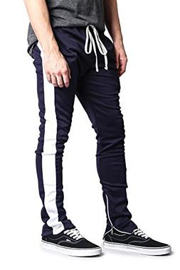 G-Style USA Men's Side Stripe Ankle Zip Skinny Track Pants -