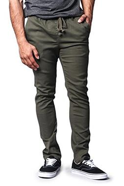 G-Style USA Mens Slant-Pocket Open Cuff Jogger Pants - Olive