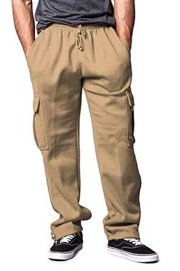 G-Style USA Men's Solid Fleece Cargo Pants DFP2 - Khaki - Sm