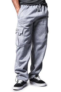 G-Style USA Men's Solid Fleece Cargo Pants DFP2 - Grey - Med