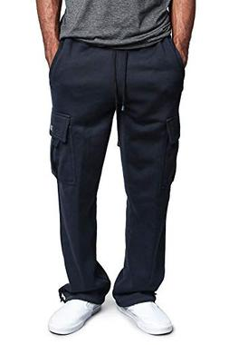 G-Style USA Men's Solid Fleece Heavyweight Cargo Pants FL77