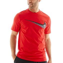 NIKE Sportswear Men's Hangtag Swoosh Tee, Black/Sport Red, S