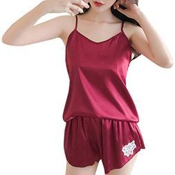 SSYUNO 2PCS Womens Sexy Sleepwear Satin Pajama Cami Set Paja
